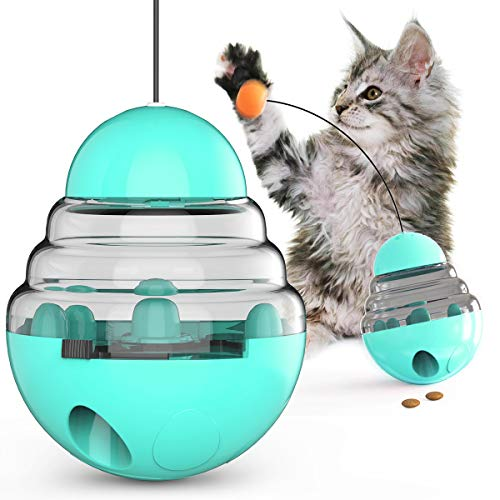Cat Toy Kitten Toys Cats Supplies Interactive Food Dispenser Slow Feeder Funny Tumbler Puzzle Kitty Teaser Stick for Indoor Cats Improve IQ