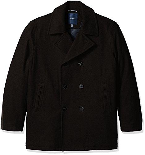 Nautica Men's Wool Peacoat, Black, M
