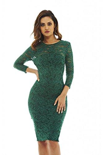 AX Paris Women's 3/4 Sleeve Bodycon Midi Dress(Green, Size:6)