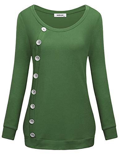 Tunics for Women Long Sleeve, Cashmere Knitted Thin Sweaters Regular Shirts Christmas Funny Boat-Neck Cotton Cool Sweatshirts Boyfriend Petite Designer Blouson Youth Blouses Tops Winter Green M