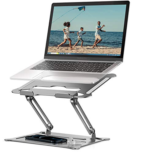 KKUYI Laptop Stand, Adjustable Laptop Stand for Desk Ergonomic Portable Laptop Riser Compatible with MacBook Air Pro, Dell, HP, Lenovo Light Weight Laptops Up to 10''-15.6' - Silver