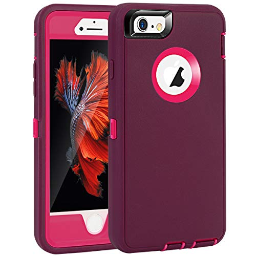 MAXCURY for iPhone 6 Case iPhone 6S Case, Heavy Duty Shockproof Series Case for iPhone 6/6S (4.7')-V2 with Built-in Screen Protector Compatible with All US Carriers (Wine/Fuchsia)