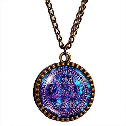 Handmade Fashion Pentagram Symbol Art Black Butler Necklace Tetragrammaton Pendant Ciel Phantomhive Jewelry Cosplay Charm Gift