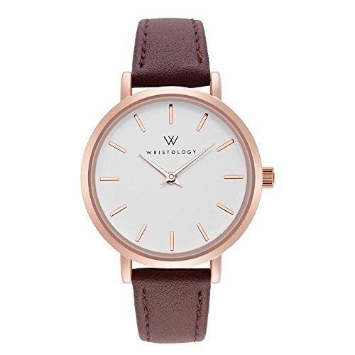 WRISTOLOGY Charlotte Lines Womens Watch Rose Gold Petite Ladies Brown Leather Strap Band
