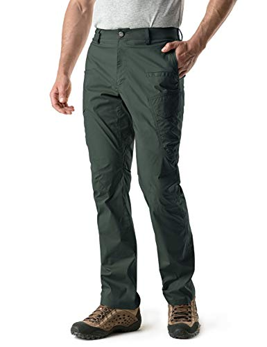 CQR Men's Hiking Pants, Water Repellent Outdoor Pants, Lightweight Stretch Cargo/Straight Work Pants, UPF 50+ Outdoor Apparel, Driflex Cargo Work Pants Green, 34W x 34L