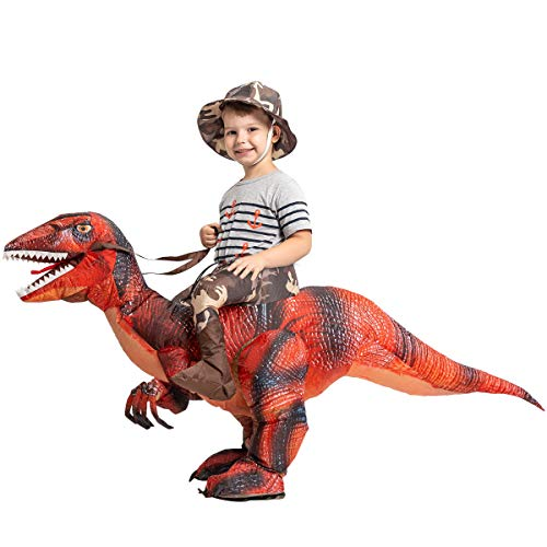 GOOSH Inflatable Dinosaur Costume Riding a T-REX Air Blow-up Deluxe Halloween Costume Red (55 INCH Body height) (Red 3-6 Yrs 48' Height)