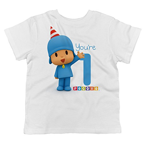 Trunk Candy Pocoyo - Happy Birthday You're 1 Toddler T-Shirt (White, 5/6T)