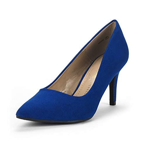DREAM PAIRS Women's KUCCI Royal Blue Classic Fashion Pointed Toe High Heel Dress Pumps Shoes Size 9.5 M US
