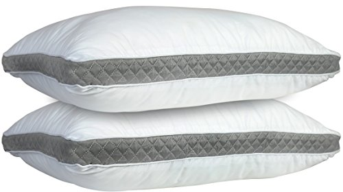 Lux Decor Collection Gusseted Quilted Bed Pillows - Set of 2 Premium Bed Pillows for Side Sleepers and Back Sleepers - 2 Pack (Queen Size, Grey Gussets)