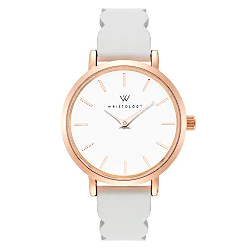 WRISTOLOGY Charlotte Lines Womens Watch Rose Gold Petite Ladies Grey Leather Strap Band