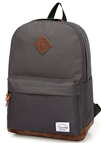 Vaschy School Backpack for College Students Casual Daypack with Padded 15 inch Laptop Compartment Dark Gray