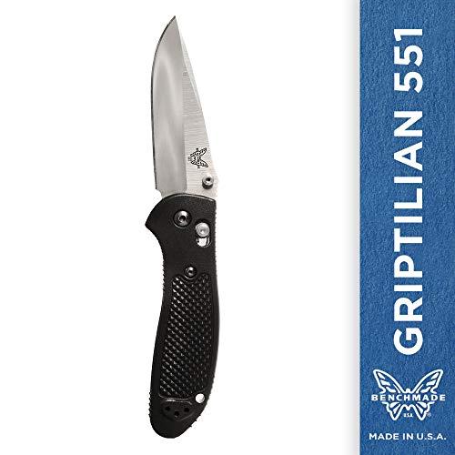 Benchmade 551 Griptilian Plain Drop-Point Satin Finish Knife (Black Nylon Handle)