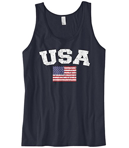Cybertela Men's Faded Distressed USA Flag Tank Top (Navy, Large)