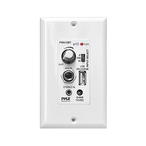 Wireless BT Receiver Wall Mount - 100W In-Wall Audio Control Receiver w/ Built-in Amplifier, USB/Microphone/Aux (3.5mm) Inputs, Speaker Terminal Block, Connect 2 Speakers, White - Pyle PWA15BT