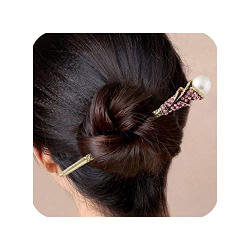 Brides Chinese Vintage Full Crystal Pearl Hairpins Step Shake Wedding Hair Jewelry Accessories,Turqoise