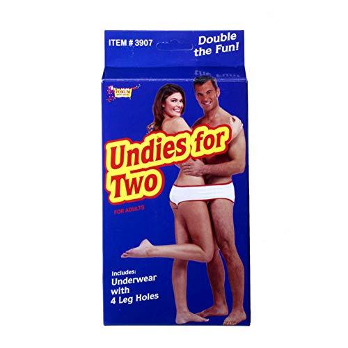 Forum Novelties 3907 Undies for Two - Valentine's Day Gift, Fun Fundie Underwear Panties for Halloween Parties & Holidays, One Size, White