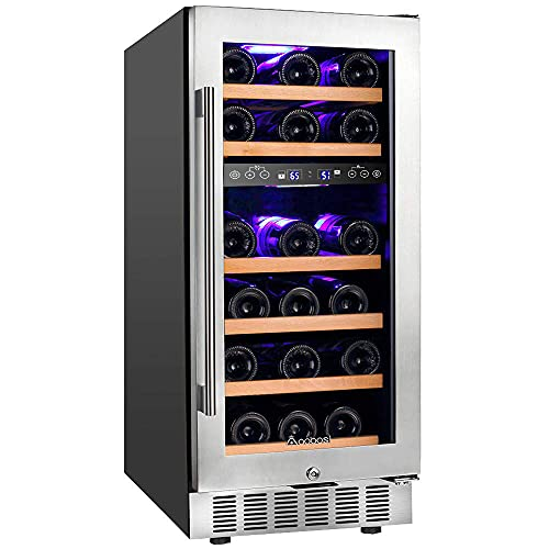 【Upgraded】Aobosi 15 Inch Wine Cooler, 28 Bottle Dual Zone Wine Refrigerator with Stainless Steel Tempered Glass Door, Temp Memory Function, Fit Champagne Bottles, Freestanding and Built-in Style