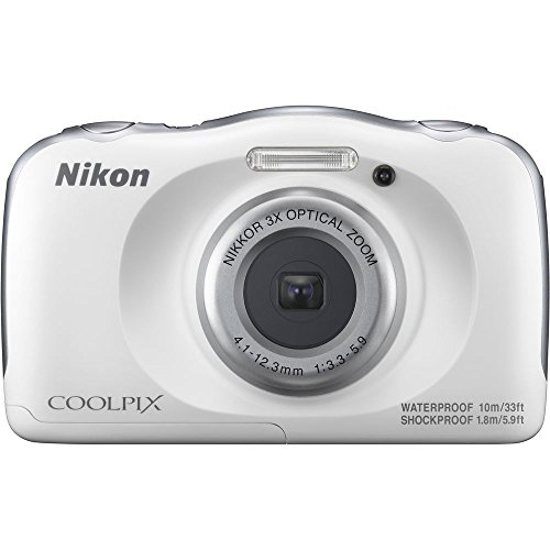 Nikon COOLPIX W100 13.2MP 1080P Digital Camera w/ 3X Zoom Lens, WiFi, SnapBridge, White (26515B) - (Renewed)