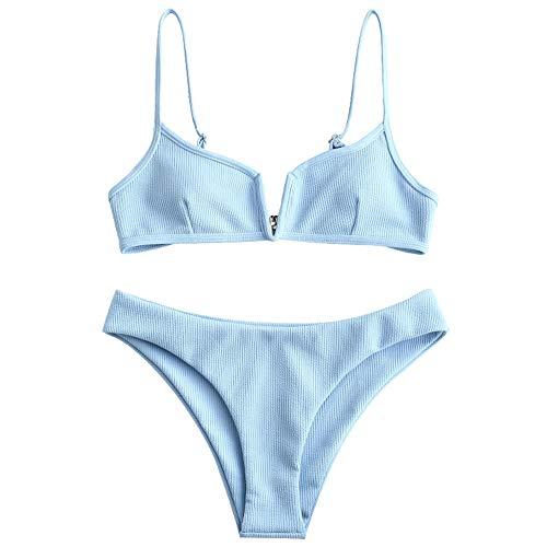 ZAFUL Women's V-Wire Padded Ribbed High Cut Cami Bikini Set Two Piece Swimsuit (Light Sky Blue, L)