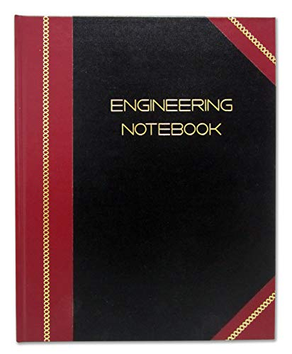 BookFactory Professional Engineering Notebook - 96 Pages (Quad Ruled - .25' Engineering Grid), 8' x 10', Engineering Lab Notebook, Black and Burgundy Cover, Smyth Sewn Hardbound (EPRIL-096-SGS-LKMST4)