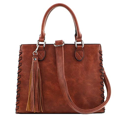 Concealed Carry Purse - YKK Locking Laced Ann Concealed Weapon Satchel by Lady Conceal (Mahogany)