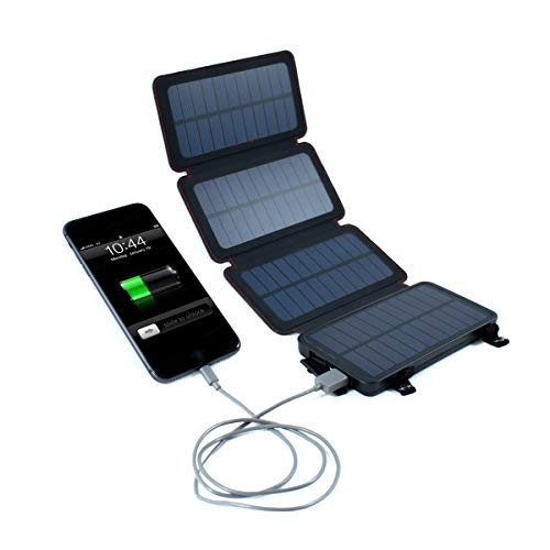 QuadraPro Solar Power Bank - 5.5W Solar 4-Panel Wireless Cell Phone Charger Compatible with iPhone, Android, Dual USB Power Bank Battery & Flashlight, Magnetic Mounts, Hanging Loops & Carabiners