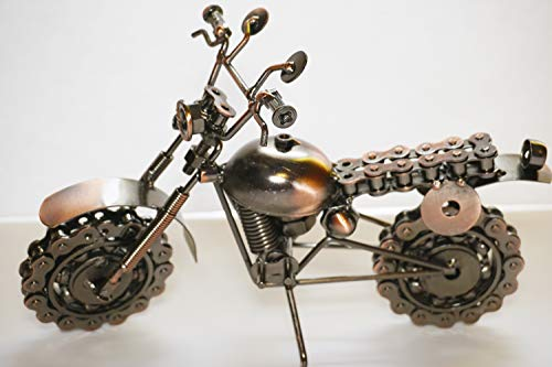col-p Professional Handmade Old Fashion Motorcycle Chopper Bike Harley Figure 10' Hybrid Scrap Welded Metal Sculpture Made of Screws,Bolts,Nuts (Motorcycle Chopper Bike Style 1)