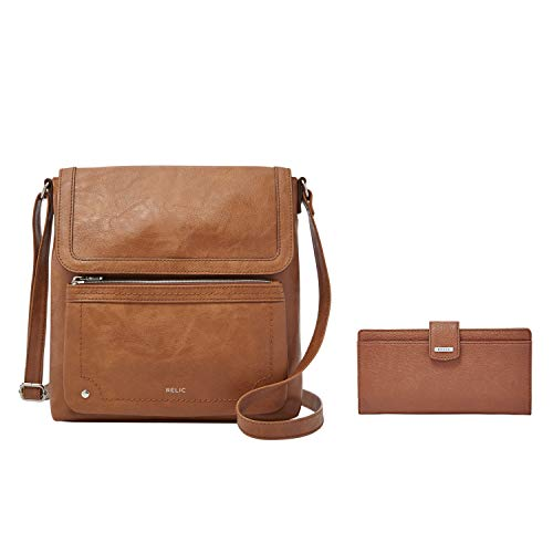 Relic by Fossil Evie Flap Crossbody Handbag, Cognac with Relic by Fossil Women's Bryce Checkbook Wallet, Color: Saddle