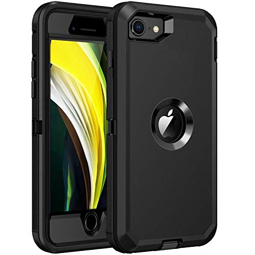 RegSun for iPhone SE 2020 Case,Built-in Screen Protector, Shockproof 3-Layer Full Body Protection Rugged Heavy Duty High Impact Hard Cover Case for iPhone SE 2nd Gen 4.7-inch,Black
