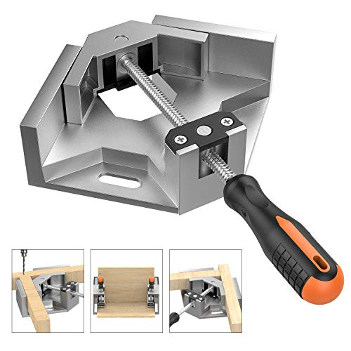 Housolution Right Angle Clamp, Single Handle 90° Aluminum Alloy Corner Clamp, Right Angle Clip Clamp Tool Woodworking Photo Frame Vise Holder with Adjustable Swing Jaw - Silver Gray