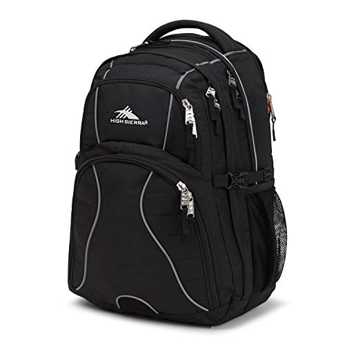 High Sierra Swerve Laptop Backpack, Black, 19 x 13 x 7.75-Inch