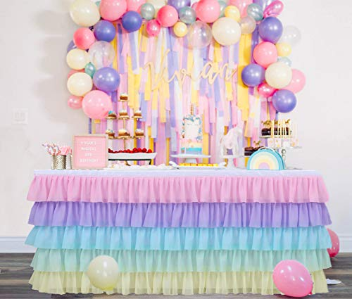 GewoneLife 6FT Rainbow Tulle Table Skirt Tutu Table Clothing for Stage Performance Birthday Baby Shower Party Decoration,Unicorn Table Skirt for Rectangle and Round Tables