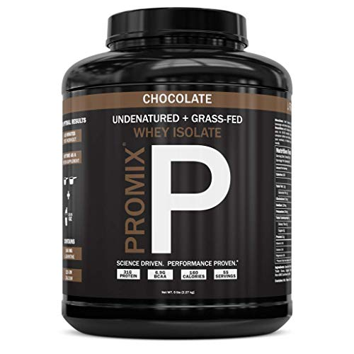 PROMIX: #1 Chocolate Undenatured Grass Fed Whey Isolate. Cold Processed - Multi-stage Micro-filtration. 30G Protein /6.9G BCAA /.5G Fat /2G Carbs /