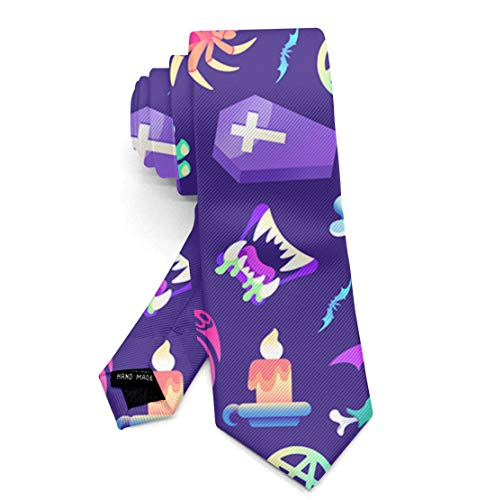 Boys Skinny Neckties for Uniform/Suit/Shirts, Novelty Party Dances Prom Skull Zombies Pattern Necktie