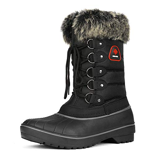 DREAM PAIRS Women's DP-Canada Black Faux Fur Lined Mid Calf Winter Snow Boots Size 8 M US