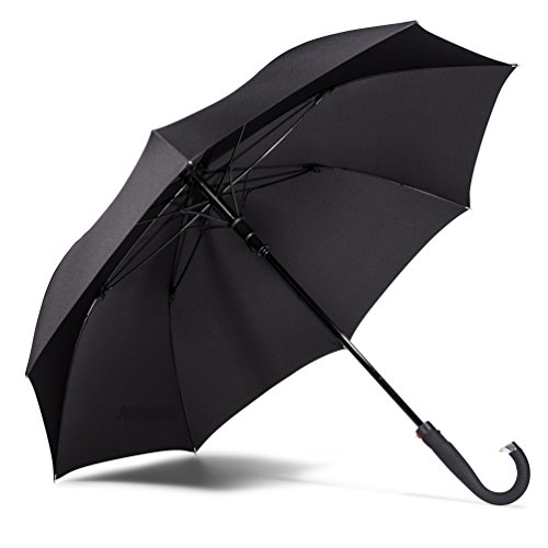 LifeTek Kingston 54 inch Windproof Automatic Open Classic Cane Umbrella - Large Oversized Canopy - Wind Resistant All Weather Sports Rain or Sun Strong and Sturdy Full Size J Handle Stick Umbrellas for Men and Women FX1 Black