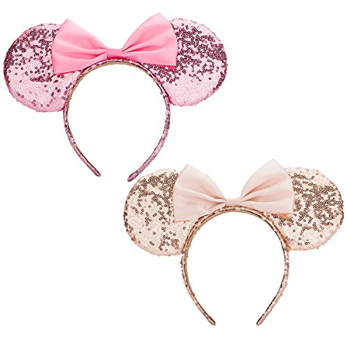 Mouse Ears headband,Calar Set of 2 Sequin Headband Butterfly Glitter Hairband for Baby Show Headwear Halloween Theme Party Decorations (1-Pink