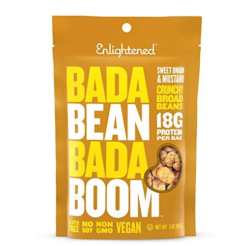 Bada Bean Bada Boom Plant-based Protein, Gluten Free, Vegan, Non-GMO, Soy Free, Kosher, Roasted Broad Fava Bean Snacks, Sweet Onion & Mustard, 3 Ounce (6 Count)
