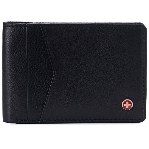 Alpine Swiss Delaney Men's Slimfold RFID Protected Wallet Nappa Leather Comes in a Gift Box Black
