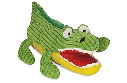 HuggleHounds Plush ,Extremely Durable and Squeaky Hand Puppet, Big Billy The Gator, Dog Toy Puppet , Large