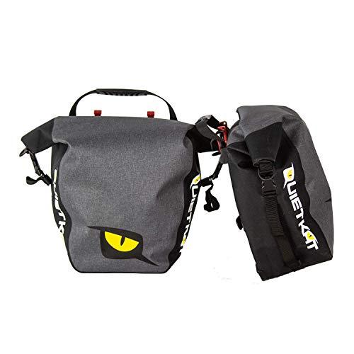 QuietKat 18QKDSB Pannier Saddle Bags for Rear Bike Rack, Waterproof Marine Grade Drybag 3, 300 cubic cm Storage, Gray