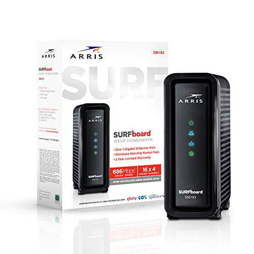 ARRIS SURFboard (16x4) DOCSIS 3.0 Cable Modem, approved for Cox, Spectrum, Xfinity & more (SB6183 Black)
