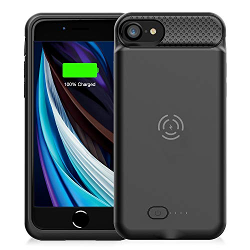 GIN FOXI Battery Case for iPhone 8/7/6s/6/SE 2020, Slim 5000mAh QI Wireless Charging Battery Case Protective Rechargeable Battery Wireless Charging Case for iPhone SE2020/8/7/6s/6 (4.7inch)