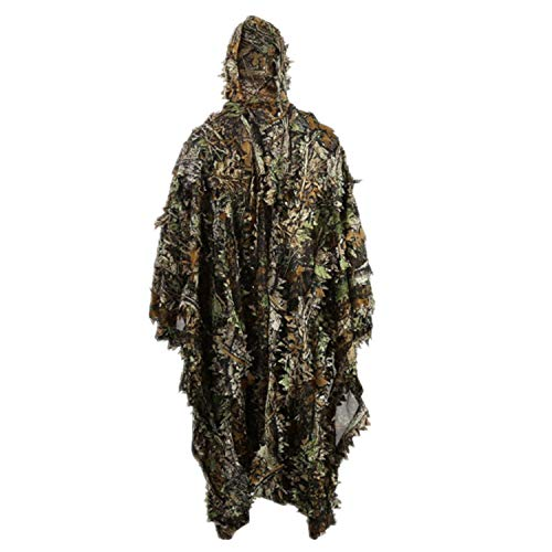 Zicac Outdoor 3D Leaves Camouflage Ghillie Poncho Camo Cape Cloak Stealth Ghillie Suit Military CS Woodland Hunting Poncho (Camo)