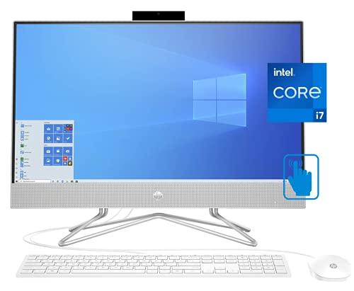 HP 27 All-in-One Desktop PC, 27 Inch FHD IPS Touchscreen, Intel i7-1165G7, 32GB RAM, 1TB SSD + 1TB HDD, Intel Iris Xe Graphics, Webcam, Windows 10 Home, KKE Mousepad