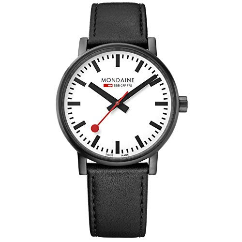 Mondaine SBB Wrist Watch for Men (MSE.40111.LB) Swiss Made, Railway Clock Design, Black Leather Strap, Black Stainless Steel Case