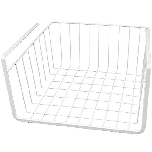 Southern Homewares White Wire Under Shelf Storage Organization Basket 10-Inch