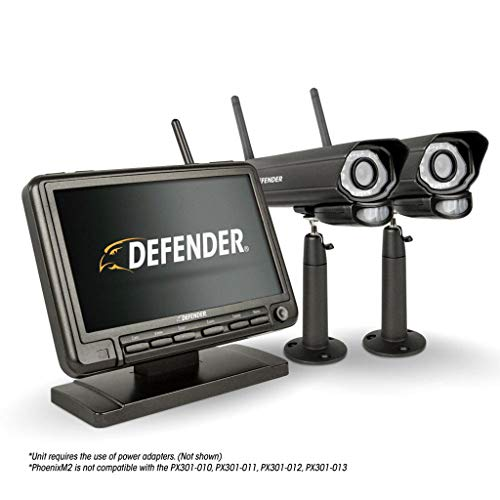 Defender PhoenixM2 Security System - Indoor and Outdoor Wireless Security System Camera with LCD Screen - Business and Home Security System - Plug and Play, No WiFi Connection Required (2 Cameras)