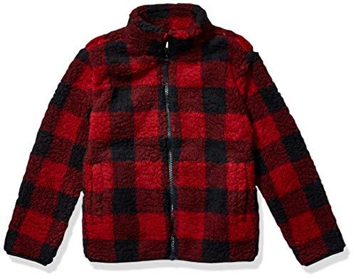 Amazon Essentials Girl's Polar Fleece Lined Sherpa Full-Zip Jacket, Red Buffalo Check, X-Large