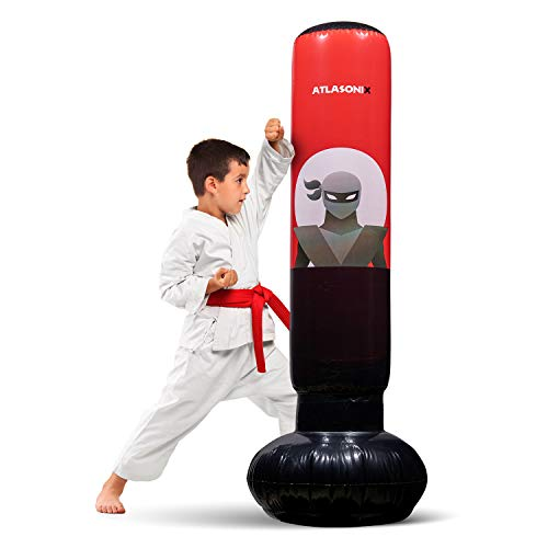 """Inflatable Kids Punching Bag – Free Standing Ninja Boxing Bag for Immediate Bounce-Back for Practicing Karate, Taekwondo, MMA and to Relieve Pent Up Energy in Kids and Adults / Tall 5' 3"""""""